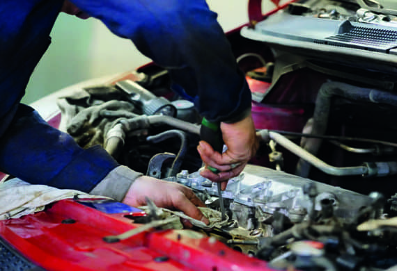 servicing vehicle engine